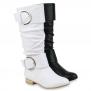 Damen Klassische Stiefel Leder-Optik Schnallen Boots