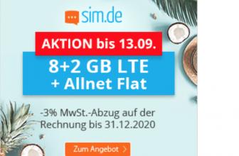 Nur für kurze Zeit ‼️‼️ 10 GB Datenvolumen mit LTE Highspeed und Allnet Flat nur 9,99€