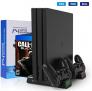 Buluri PS4 Standfuß mit Lüfter, PlayStation 4 / Slim / Pro – Vertikal Stand – Dual Controller Ladestation mit LED – 78% Rabatt
